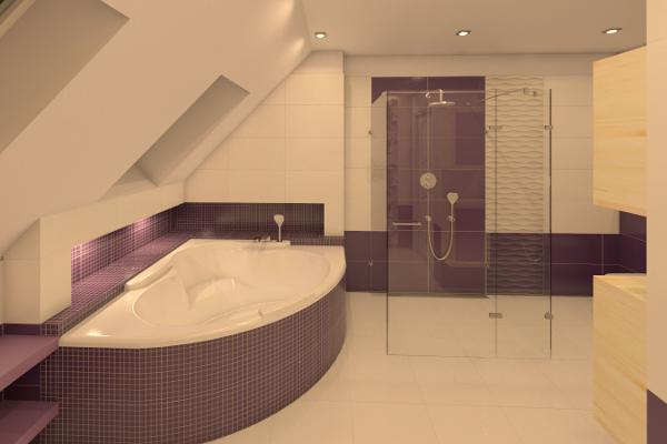 Projekty aranżacji wnętrza łazienki na poddaszu - Ask - Architekt Szymon Kuhn