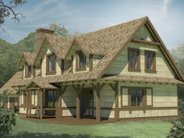 Projekt domu w Białowieży z dużym, zadaszonym tarasem w podcieniu.