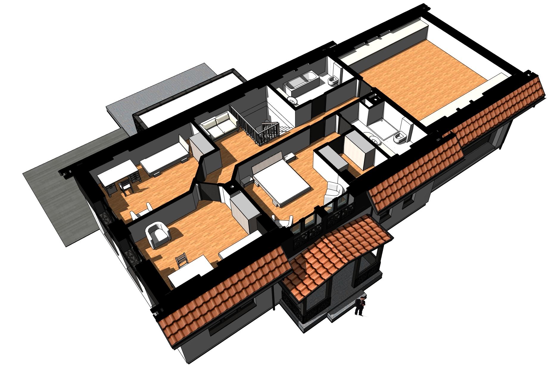 Na poddaszu znalazły się trzy pokoje i pokój rekreacyjny nad garażem. Sypialnia właścicieli wyposażona jest w niezależną garderobę i łazienkę.