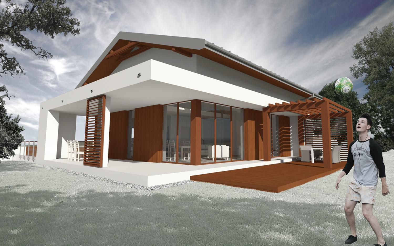 Dom znajduje się na wzniesieniu - narożne okna w salonie otwierają się na piękny widok na kaszubski krajobraz.