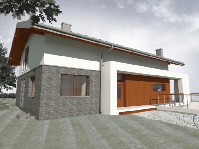 Dom składa się z tradycyjnej bryły z dachem dwuspadowym, którą rozcina poziomo zadaszenie tarasu.