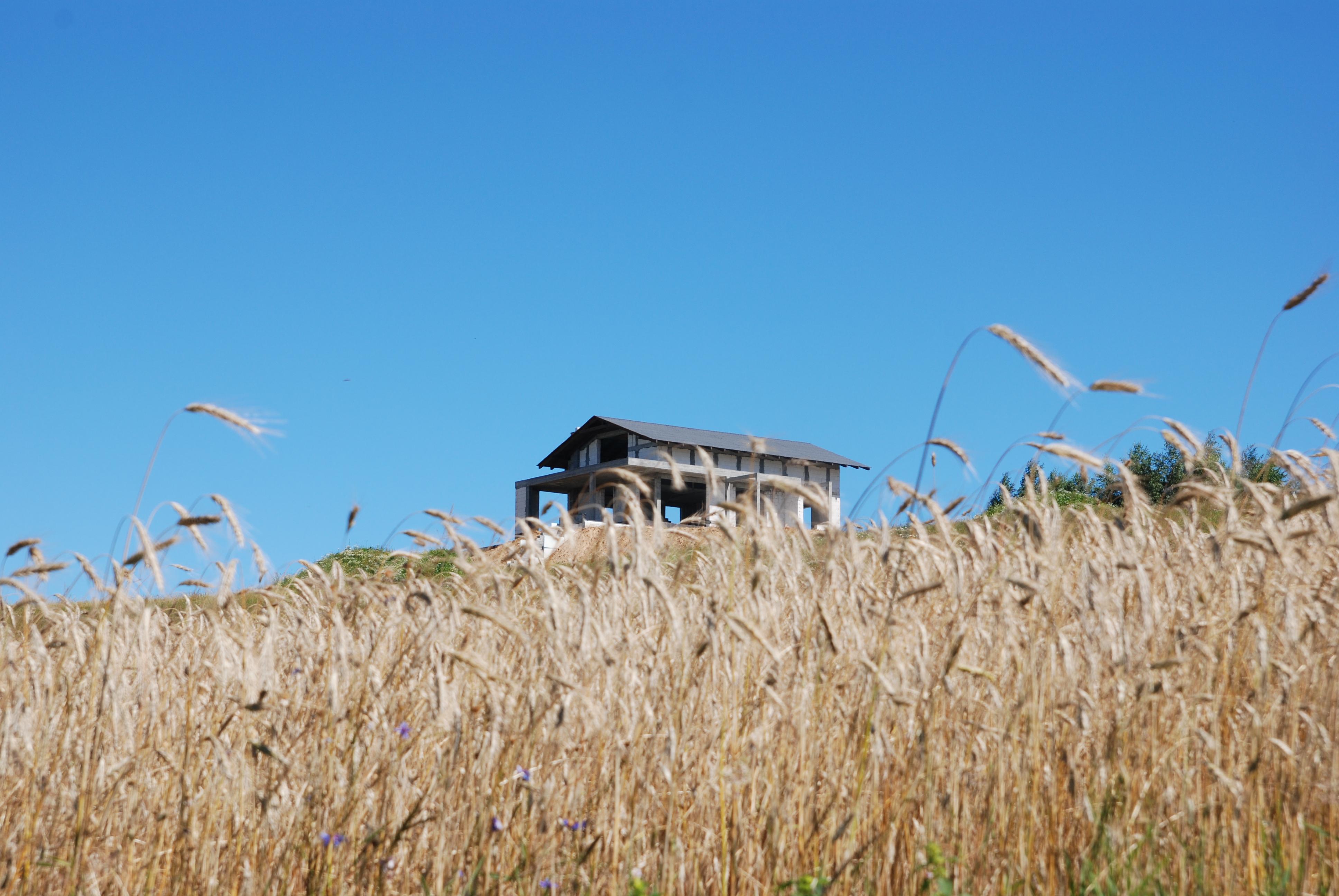 Dom wyrasta z wzniesienia.