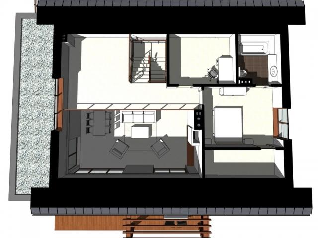 Na poddaszu znajduje się antresola oraz sypialnia z garderobą i łazienką.