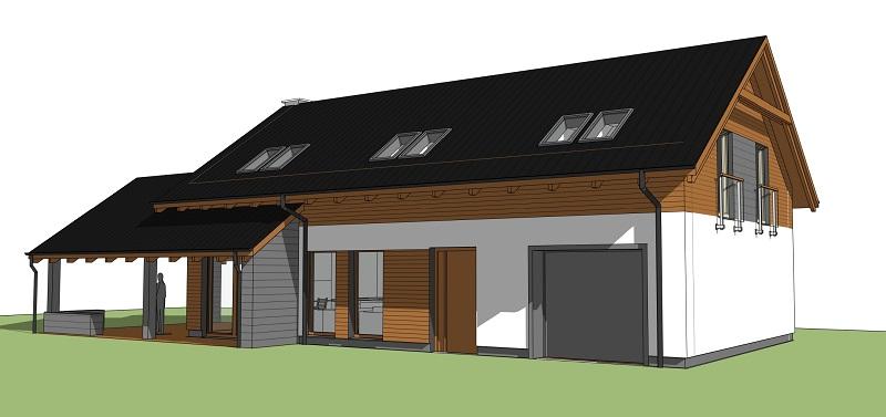 Projekt domu z dużym, zadaszonym tarasem w Zdunowicach - Ask - Architekt Szymon Kuhn