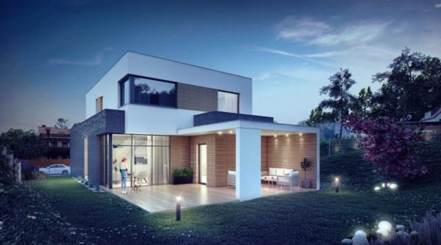 Projekt domu w Gdyni - widok od strony ogrodu