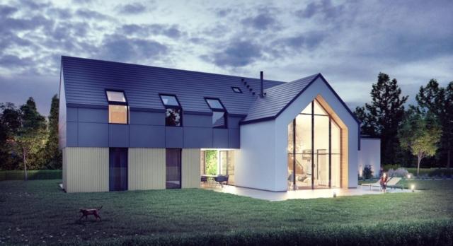 Zadaszony taras w postaci wgłębienia w bryle daje efekt pokoju zewnętrznego i doświetla korytarz, jadalnię i siłownię.