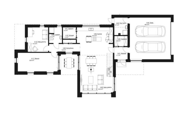 Charakterystycznym elementem projektu jest taras w postaci wgłębienia w bryle - pokój zewnętrzny doświetlający jadalnię, siłownię i korytarz.